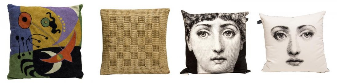 (4) DESIGNER PILLOWS, (2) FORNASETTI BY MARCATO