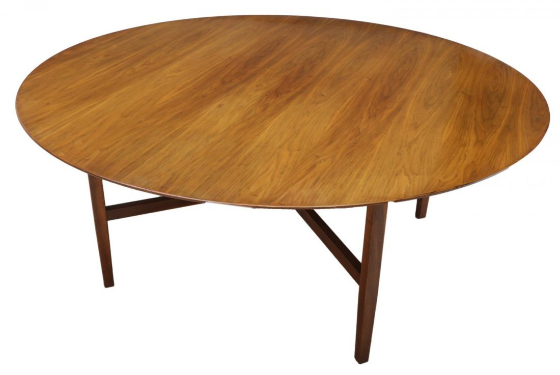 "FLORENCE KNOLL CIRCULAR TOP WALNUT TABLE, 72""D - 2"