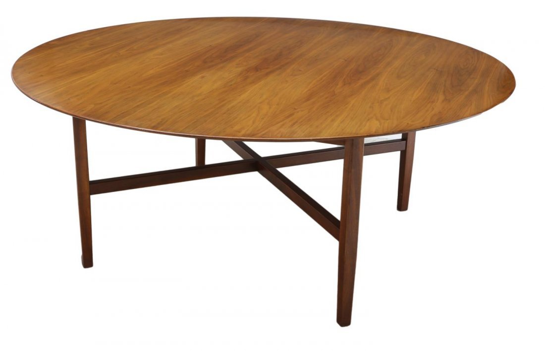 "FLORENCE KNOLL CIRCULAR TOP WALNUT TABLE, 72""D - 3"