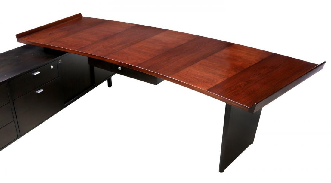 HARVEY PROBBER ROSEWOOD EXECUTIVE DESK & RETURN - 4