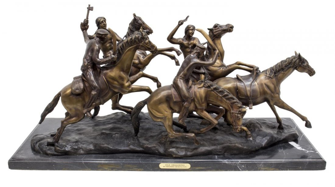 """""""OLD DRAGOONS"""" BRONZE AFTER FREDERIC REMINGTON"""