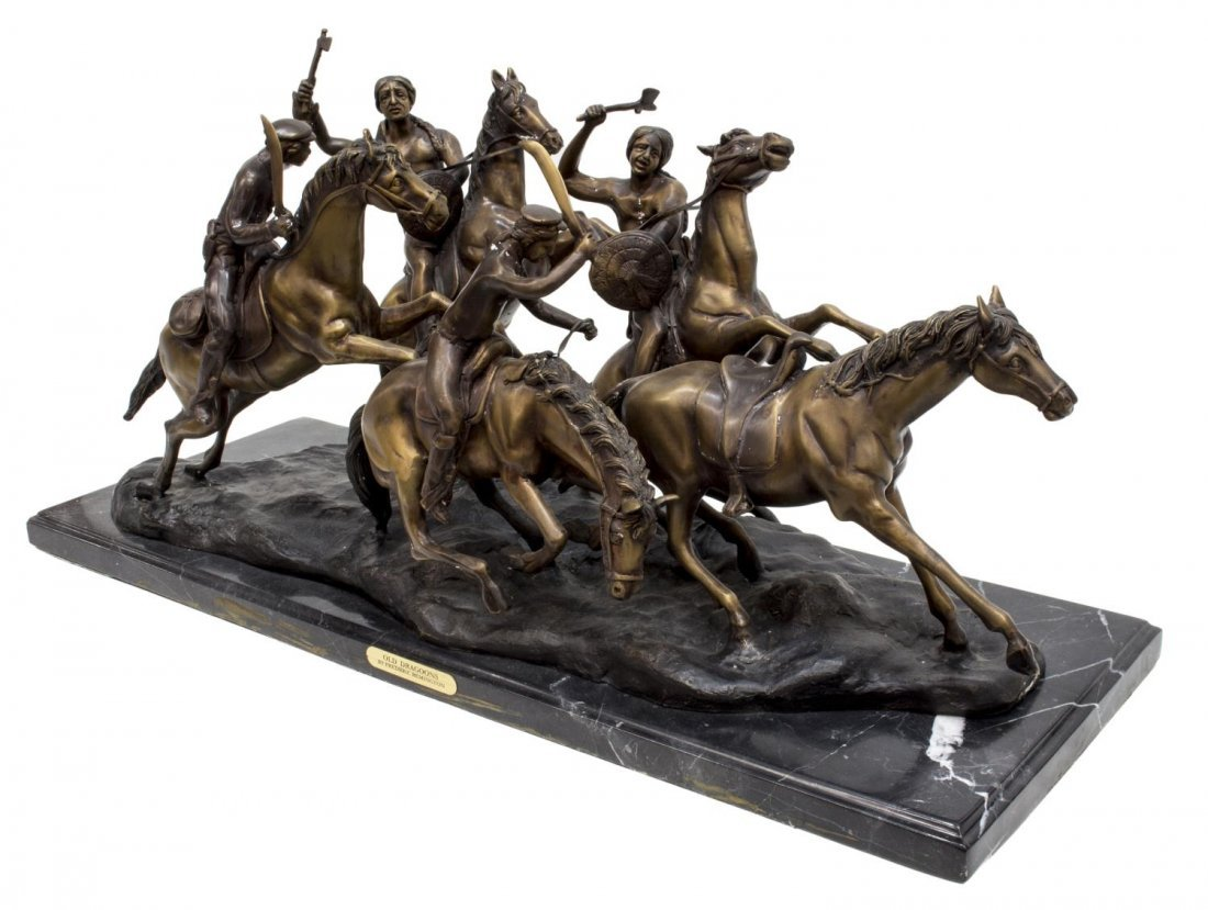 """""""OLD DRAGOONS"""" BRONZE AFTER FREDERIC REMINGTON - 2"""