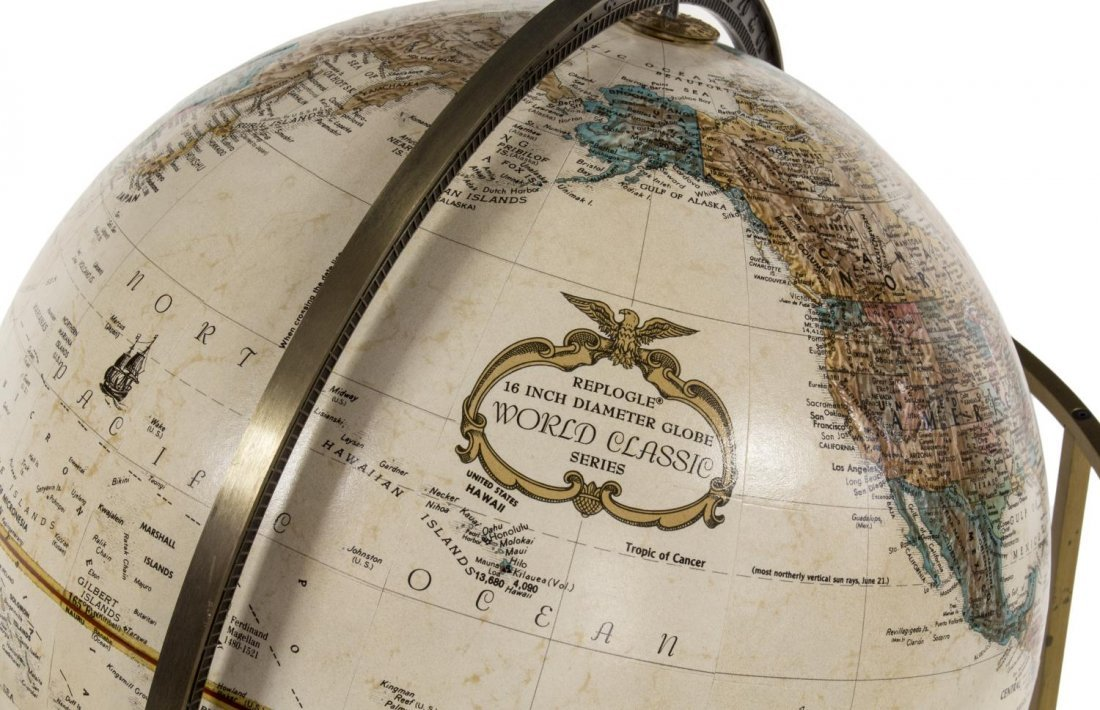 "REPLOGLE WORLD CLASSIC 16"" DIAM GLOBE ON STAND - 3"