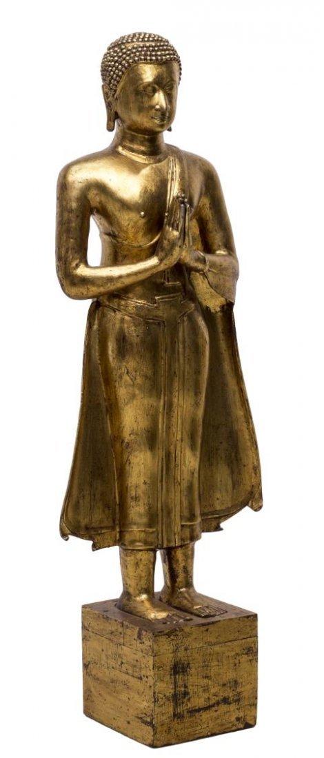 LARGE THAI GILT BRONZE STANDING BUDDHA STATUE