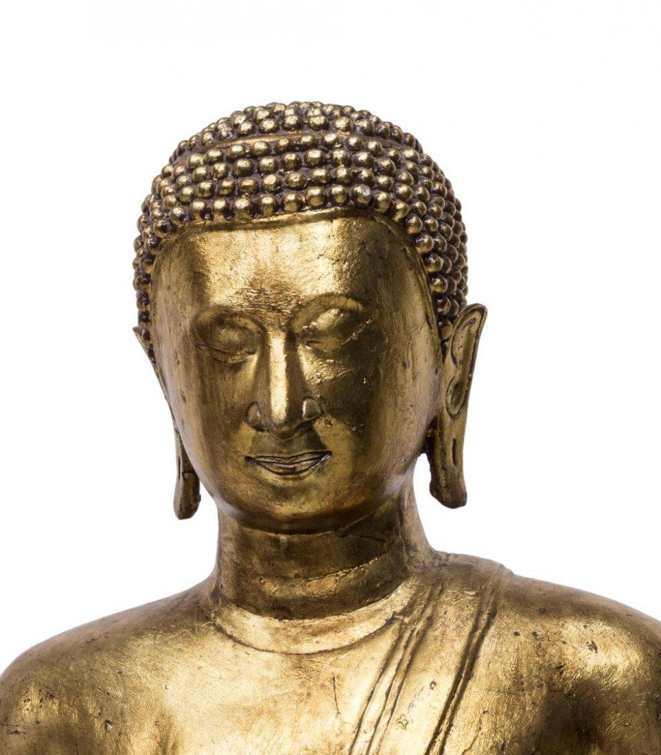 LARGE THAI GILT BRONZE STANDING BUDDHA STATUE - 3