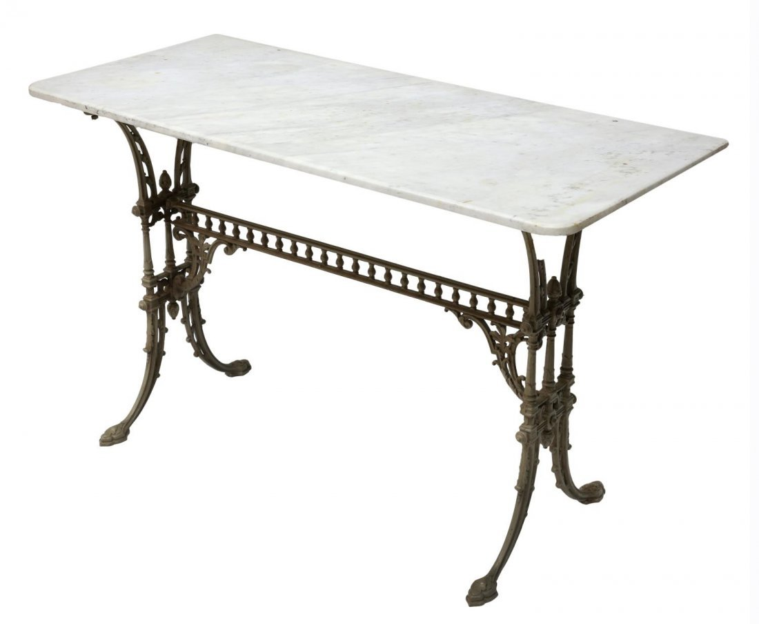 VICTORIAN CAST IRON & MARBLE TOP CONSOLE TABLE