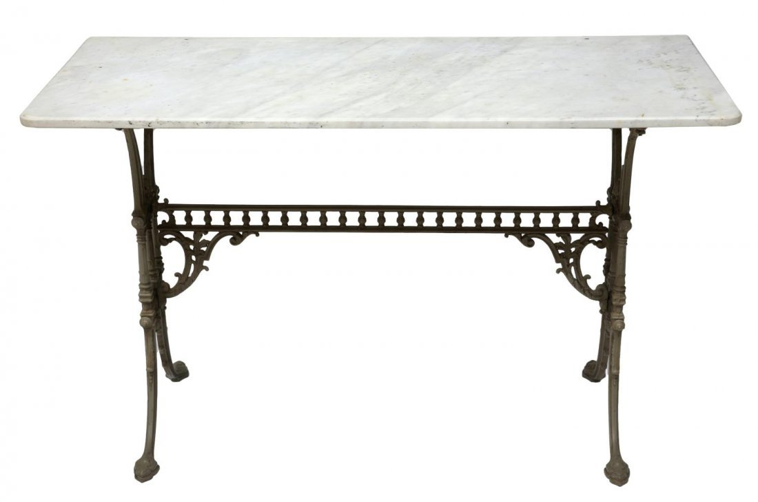 VICTORIAN CAST IRON & MARBLE TOP CONSOLE TABLE - 2