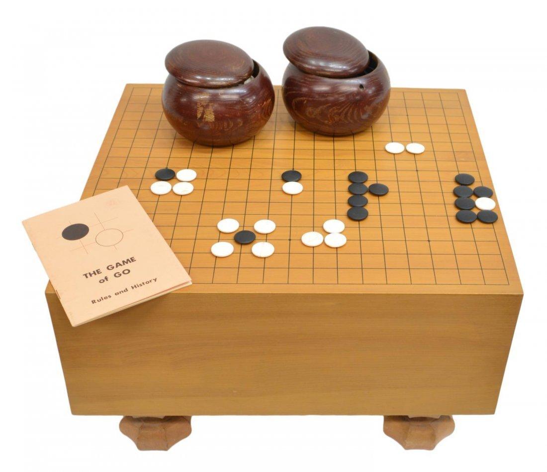 (3) VINTAGE CHINESE GO TABLE & STONES IN WOOD JARS
