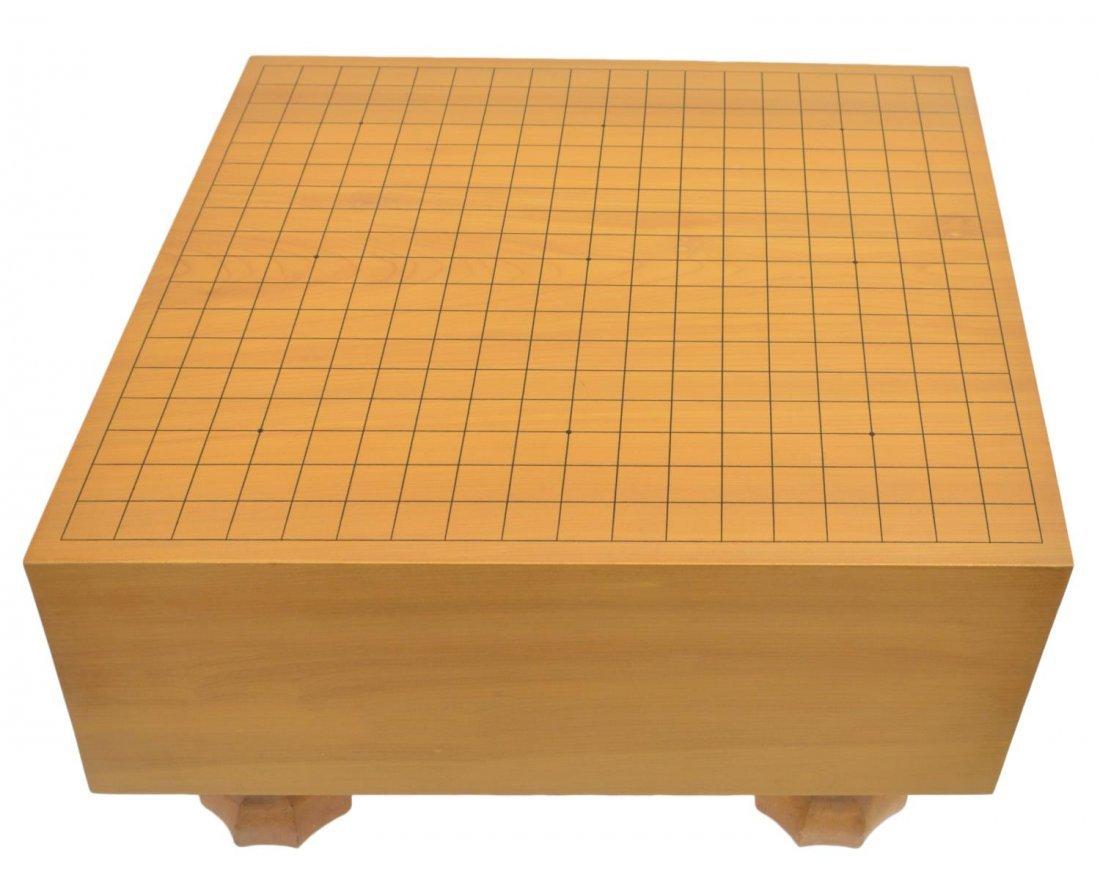 (3) VINTAGE CHINESE GO TABLE & STONES IN WOOD JARS - 2