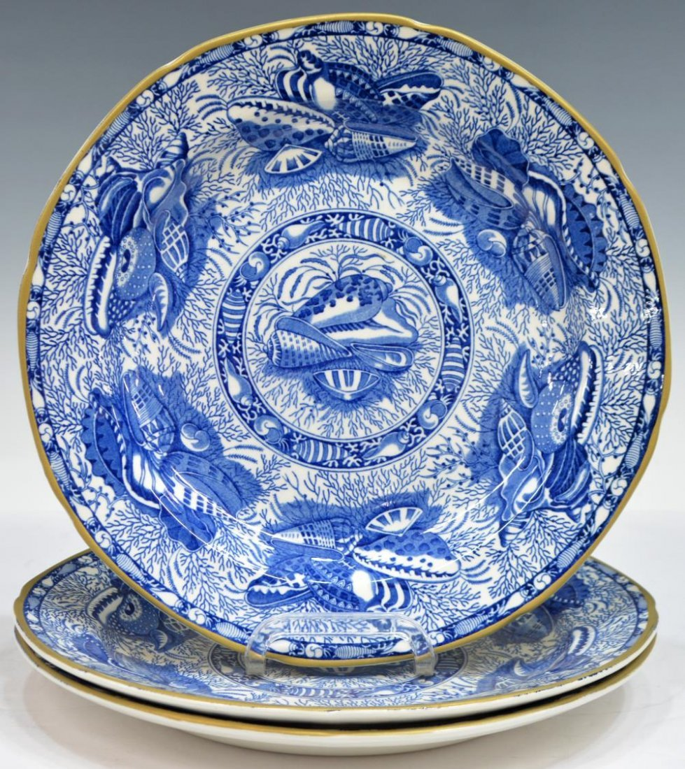 (3) MOTTAHEDEH TORQUAY BLUE & GOLD DINNER PLATES