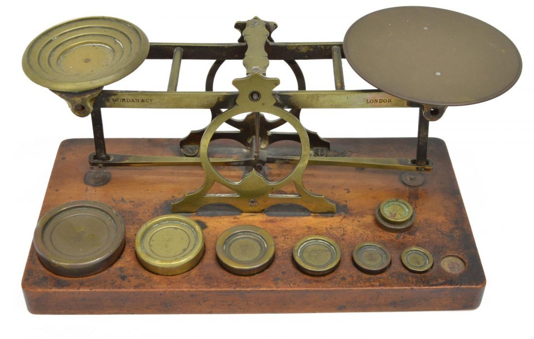 ANTIQUE S. MORDAN LONDON POSTAL SCALE & WEIGHTS - 2