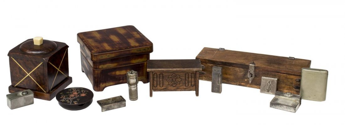 (5) ANTIQUE TO VINTAGE WOOD TABLE BOX GROUPING