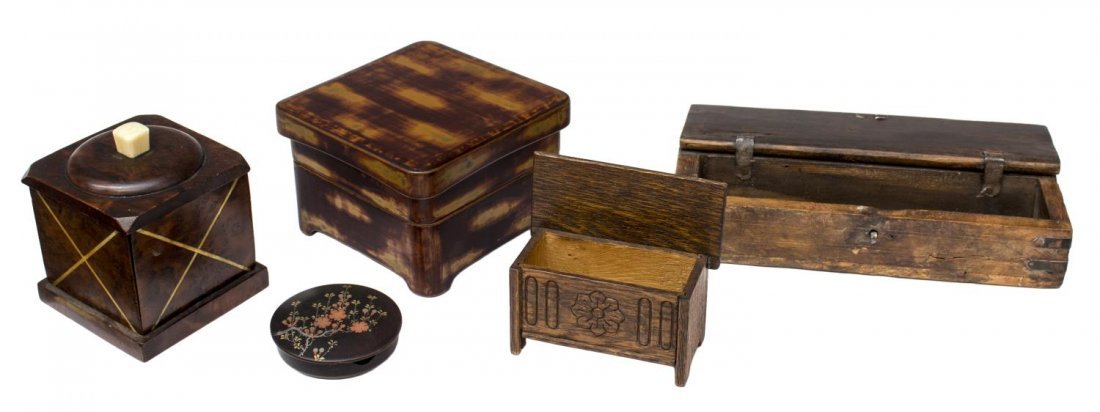 (5) ANTIQUE TO VINTAGE WOOD TABLE BOX GROUPING - 2