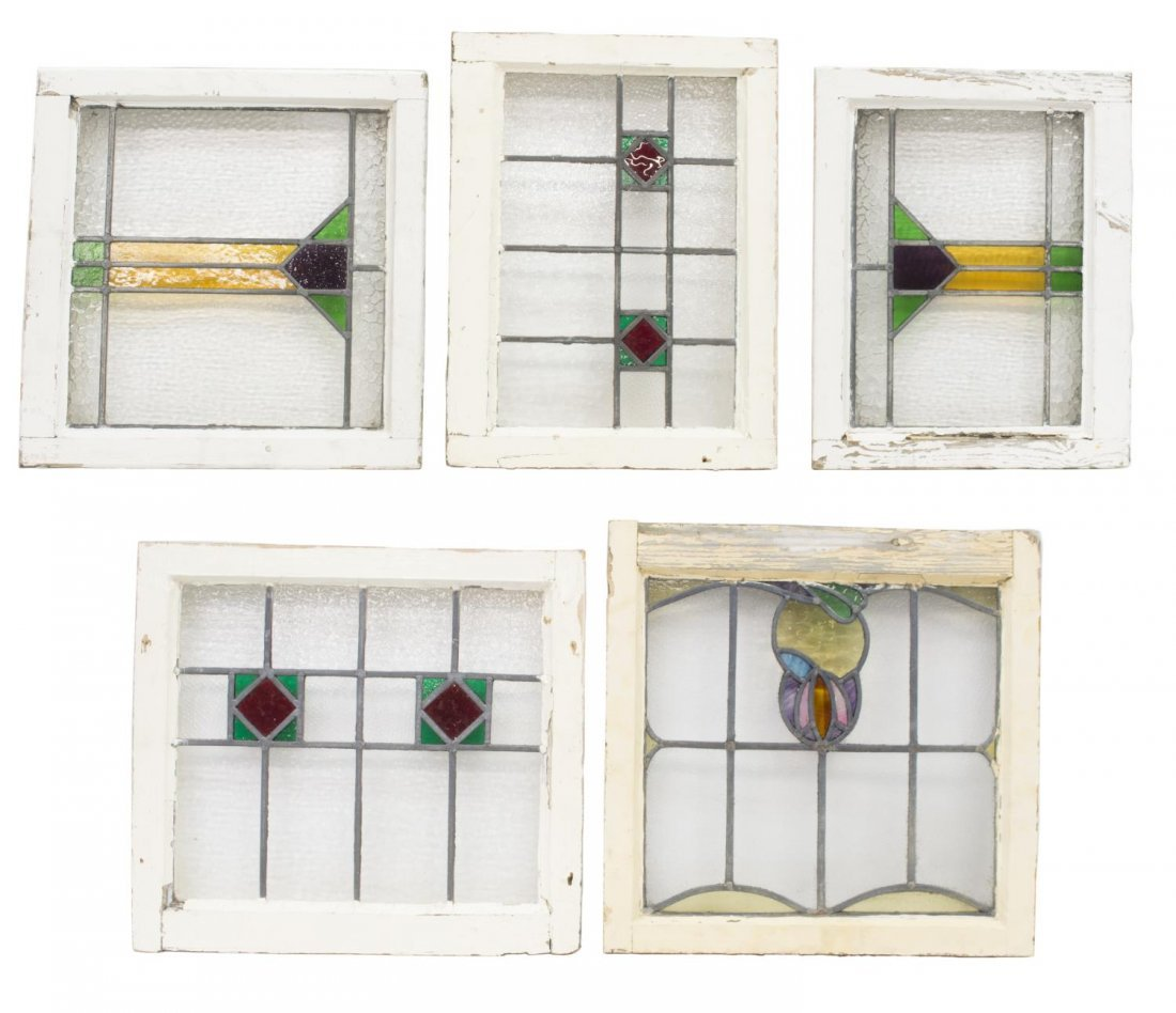 (6) ENGLISH LATE VICTORIAN STAINED GLASS WINDOWS