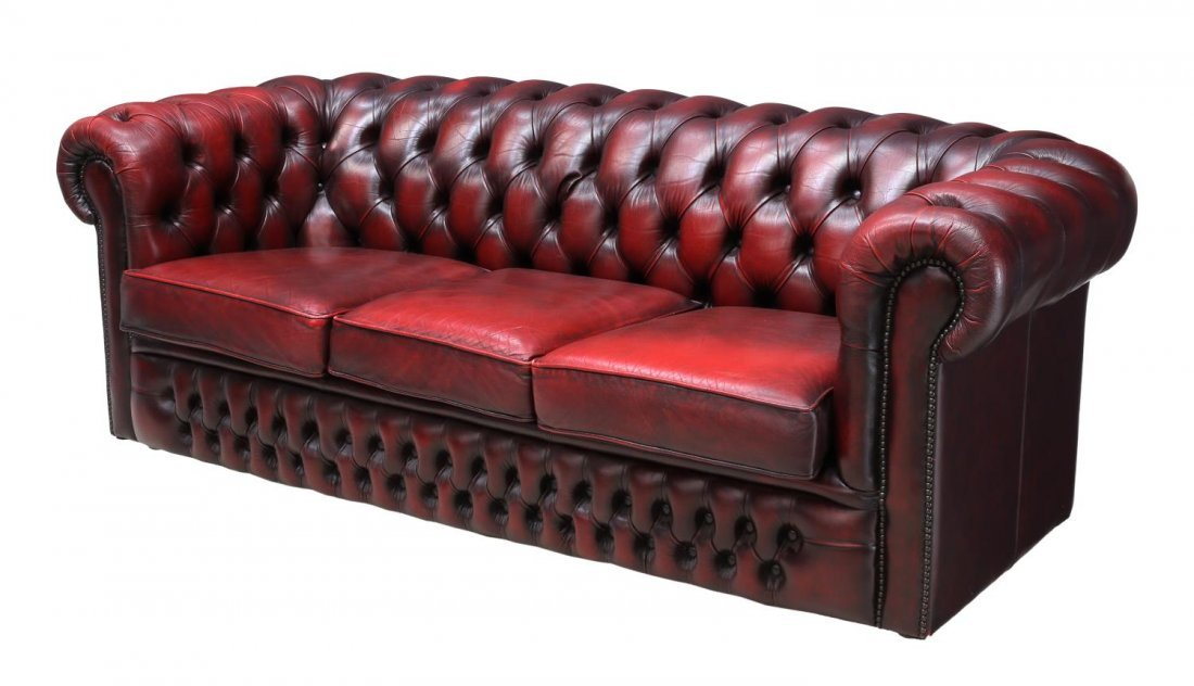 ENGLISH CHESTERFIELD OXBLOOD LEATHER TUFTED SOFA