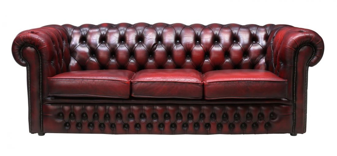 ENGLISH CHESTERFIELD OXBLOOD LEATHER TUFTED SOFA - 2
