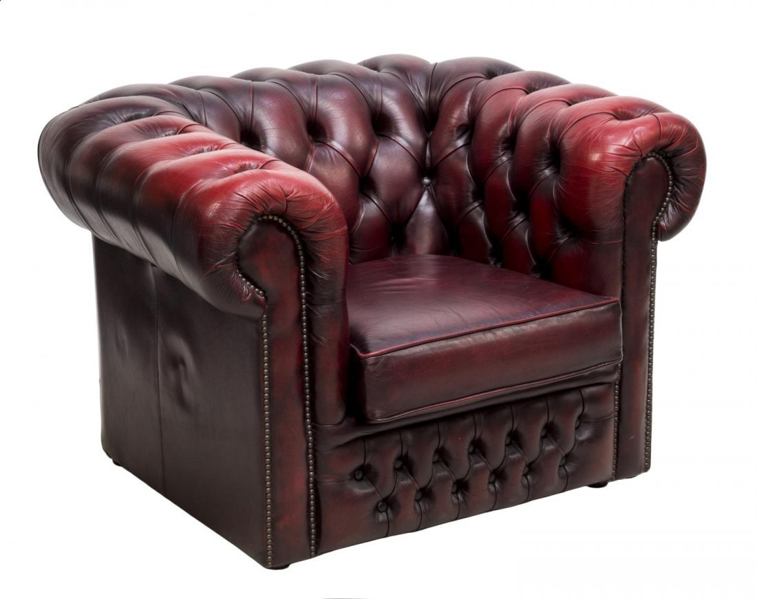 ENGLISH CHESTERFIELD OXBLOOD LEATHER CLUB CHAIR