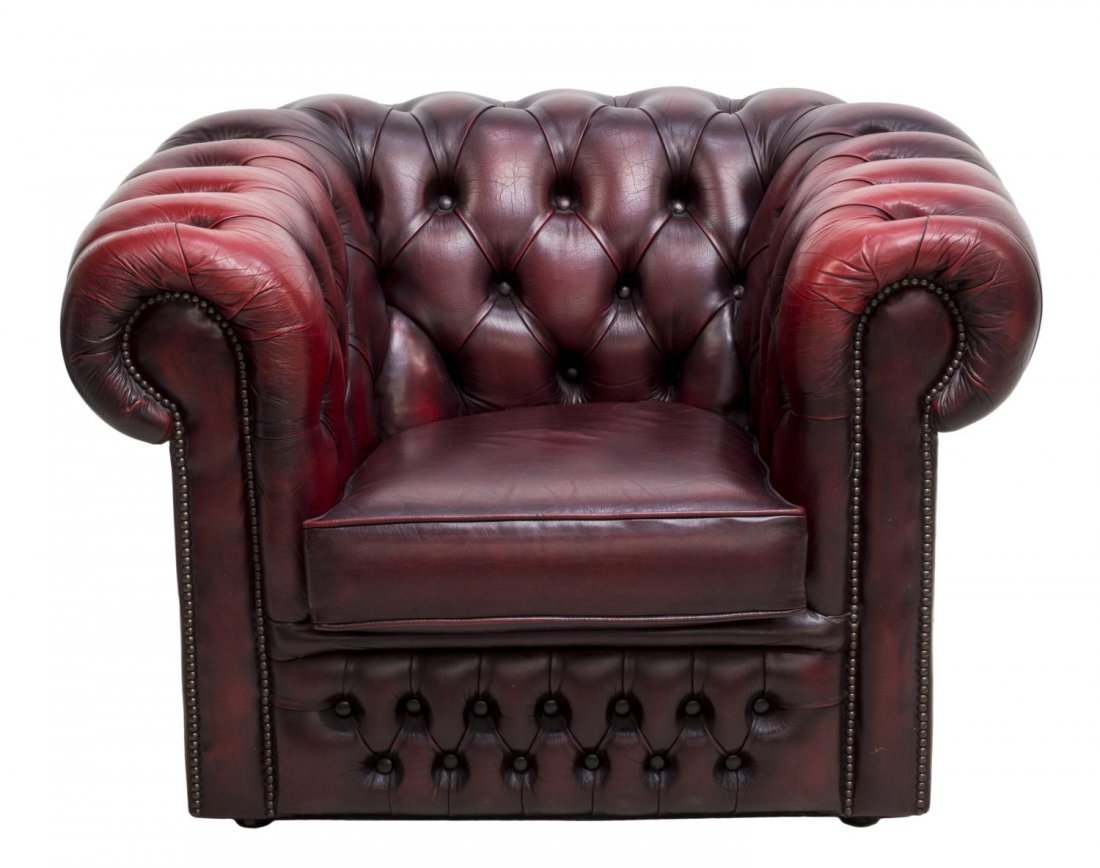 ENGLISH CHESTERFIELD OXBLOOD LEATHER CLUB CHAIR - 2
