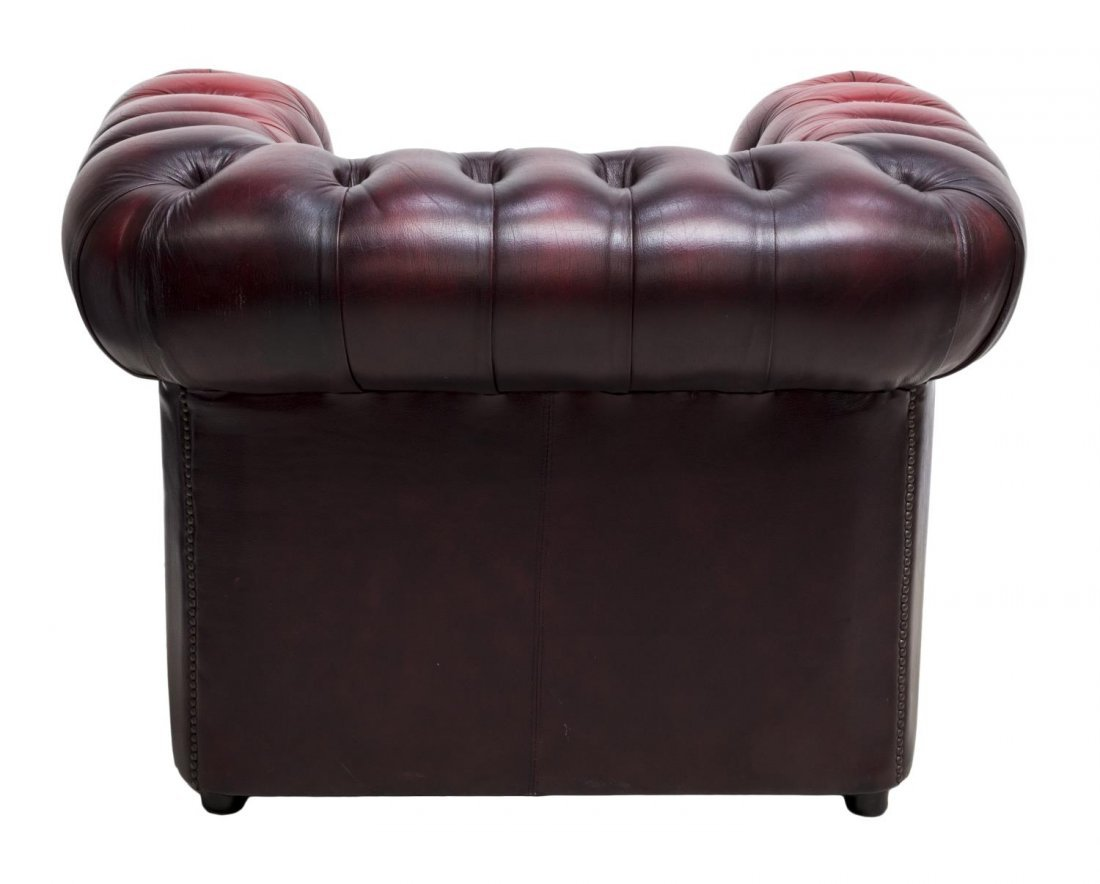ENGLISH CHESTERFIELD OXBLOOD LEATHER CLUB CHAIR - 3