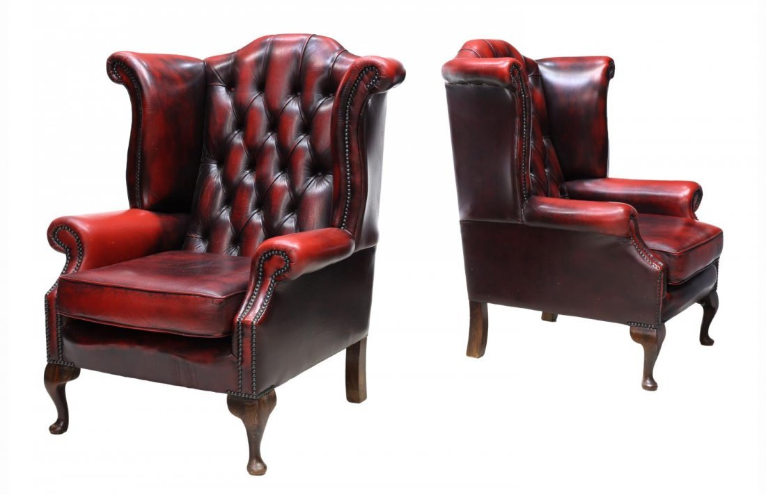 (2) ENGLISH QUEEN ANNE OXBLOOD LEATHER CLUB CHAIRS