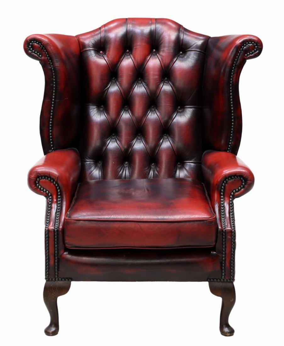 (2) ENGLISH QUEEN ANNE OXBLOOD LEATHER CLUB CHAIRS - 2