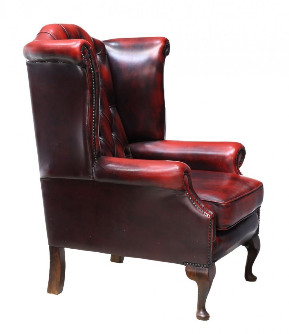 (2) ENGLISH QUEEN ANNE OXBLOOD LEATHER CLUB CHAIRS - 4