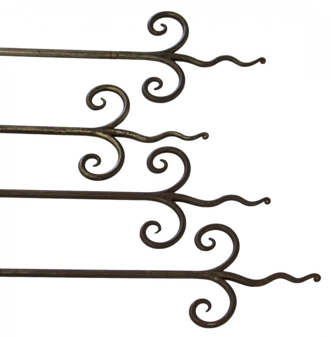 (4) CUSTOM IRON SCROLLED END CURTAIN RODS