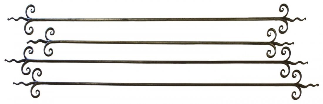 (4) CUSTOM IRON SCROLLED END CURTAIN RODS - 2