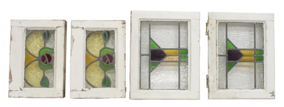 (4) ENGLISH LATE VICTORIAN STAINED GLASS WINDOWS
