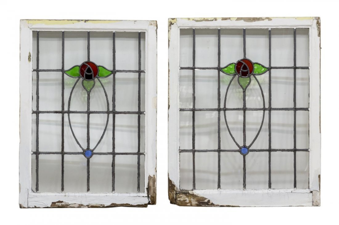 (6) ENGLISH LATE VICTORIAN STAINED GLASS WINDOWS - 2