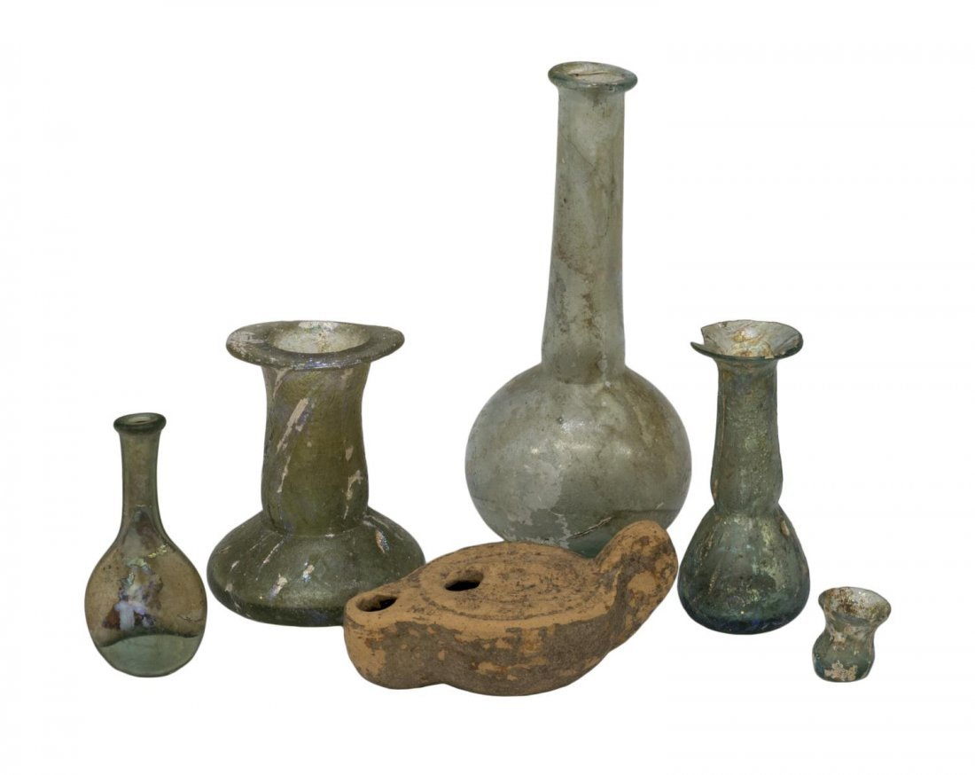 (6) ANCIENT ROMAN IRIDESCENT GLASS BOTTLES & LAMP