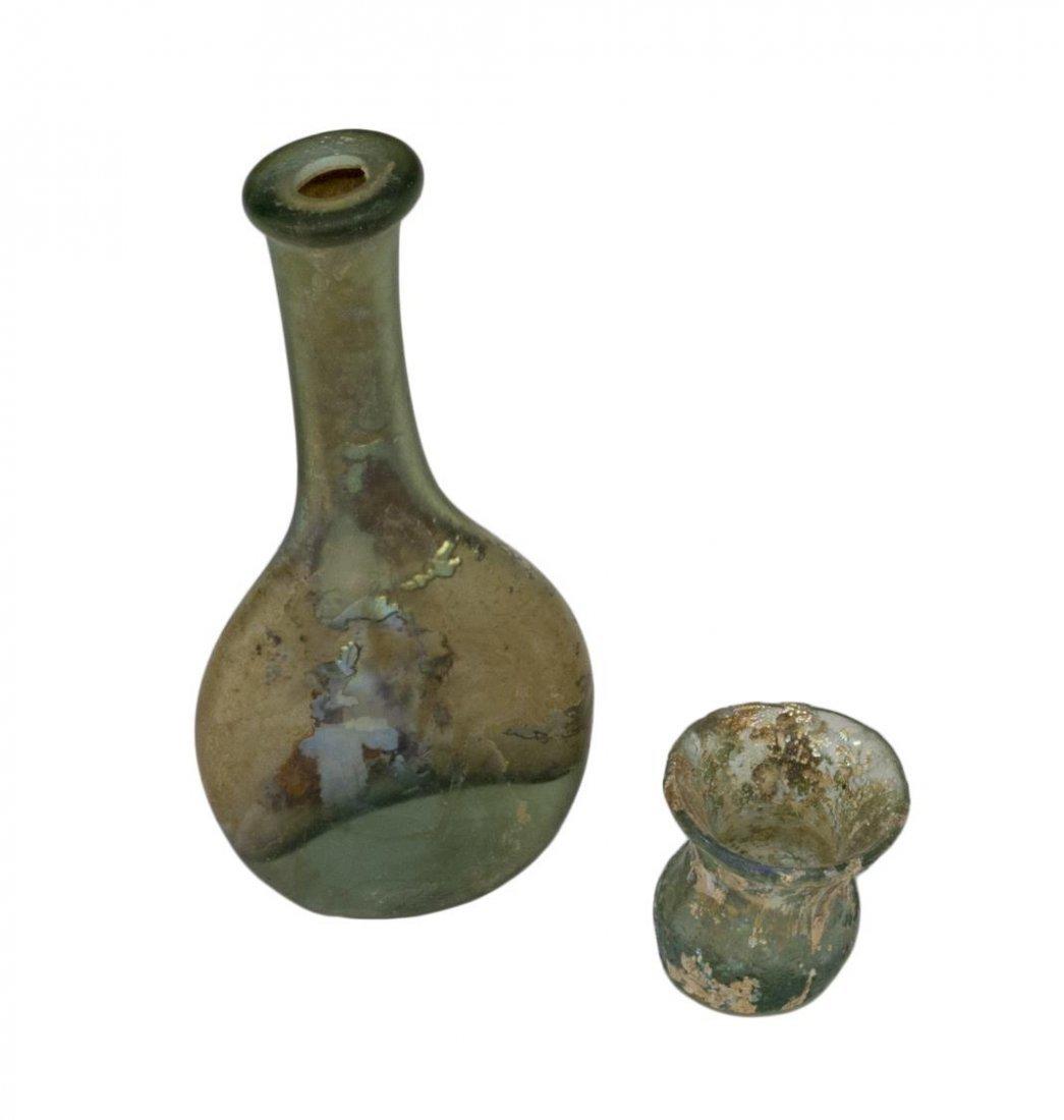 (6) ANCIENT ROMAN IRIDESCENT GLASS BOTTLES & LAMP - 2