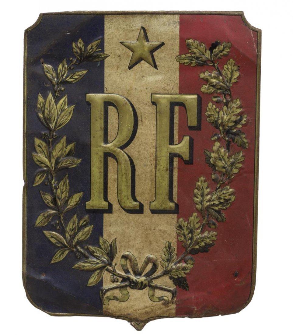ANTIQUE FRENCH METAL SHEILD FORM FLAG HOLDER