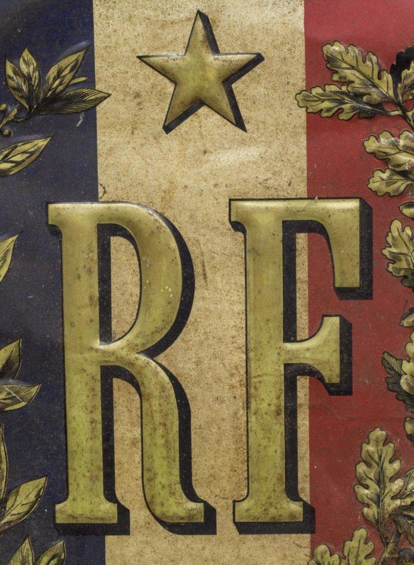 ANTIQUE FRENCH METAL SHEILD FORM FLAG HOLDER - 2