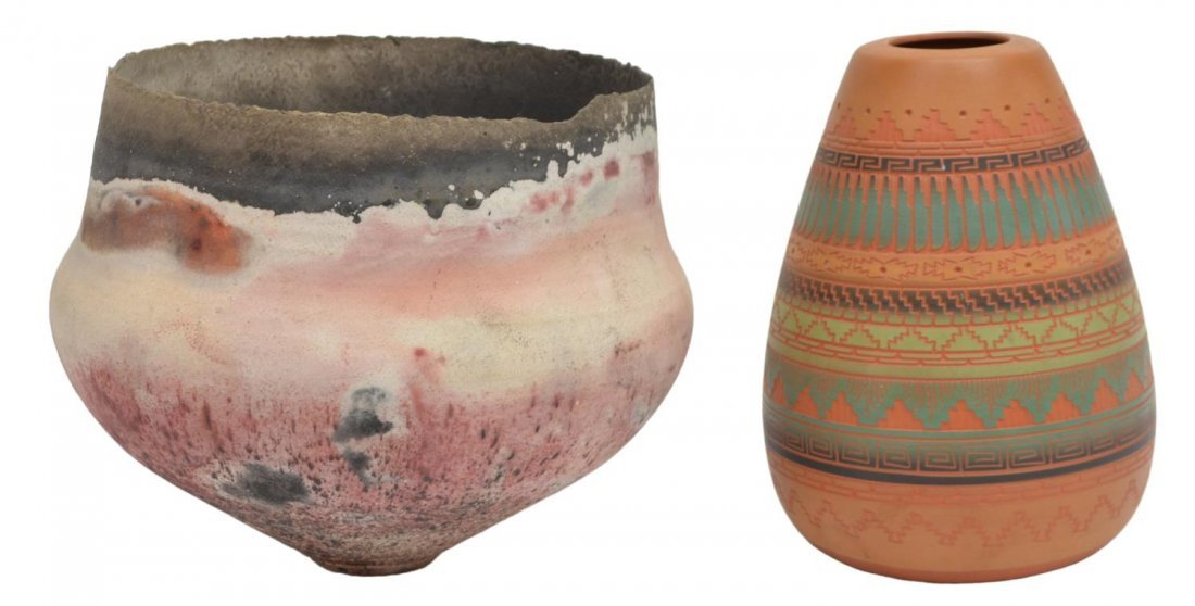 (2) AMERICAN INDIAN POTTERY, SIGNED PIECES