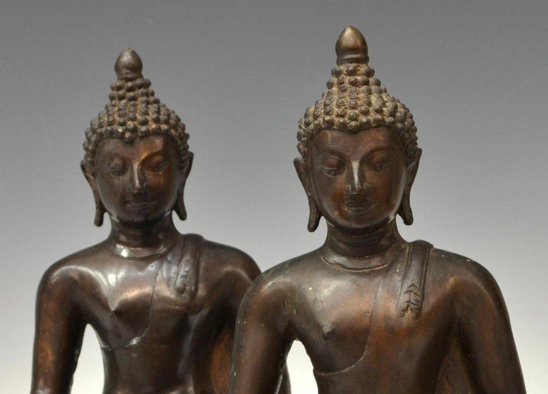 (2) THAI PATINATED BRONZE SEATED BUDDHA STATUES - 2