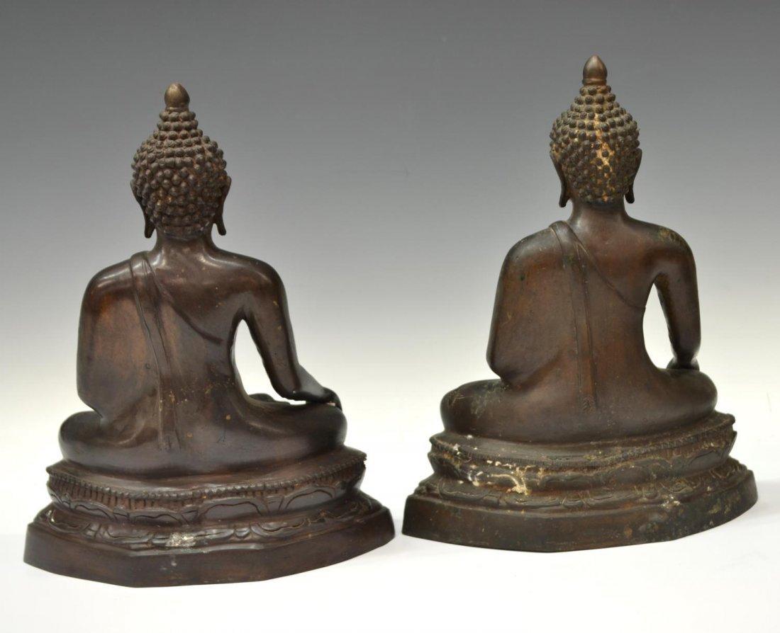 (2) THAI PATINATED BRONZE SEATED BUDDHA STATUES - 3