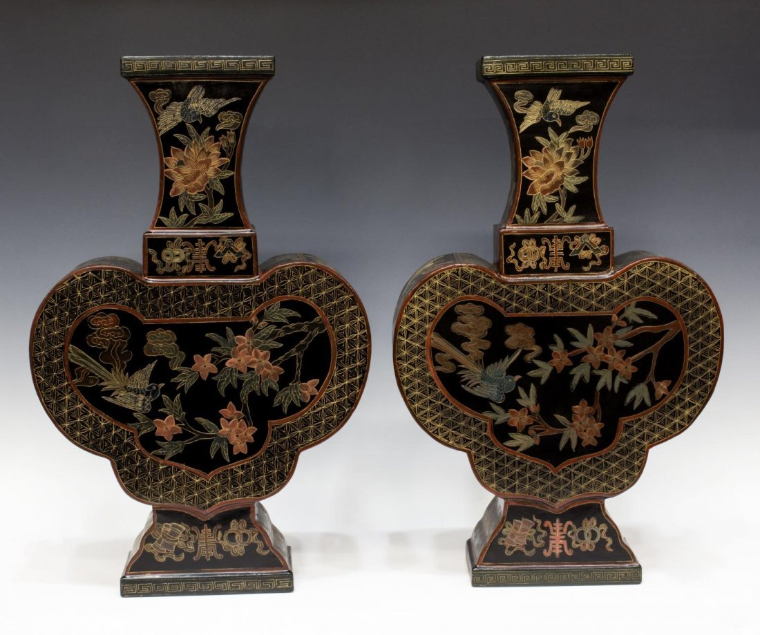 (PAIR) CHINESE BLACK LACQUER PAPIER MACHE VASES