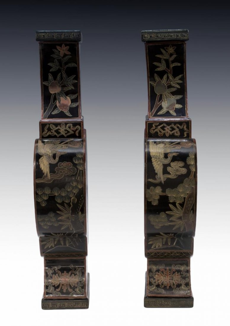 (PAIR) CHINESE BLACK LACQUER PAPIER MACHE VASES - 2