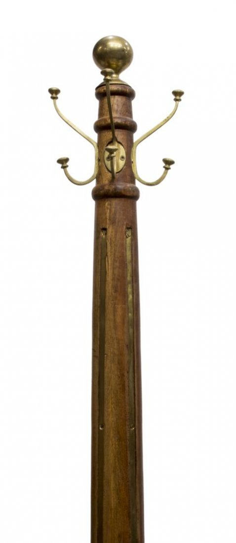 TALL TEAKWOOD & BRASS STANDING COAT/HAT RACK