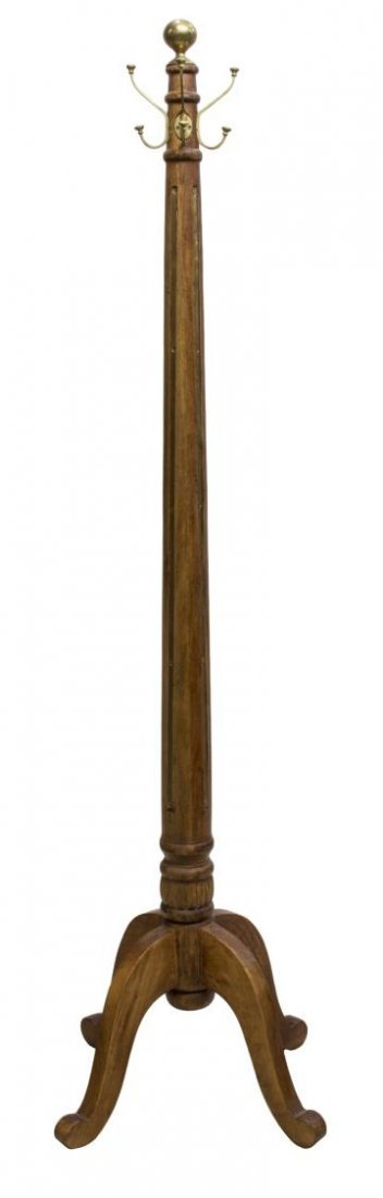 TALL TEAKWOOD & BRASS STANDING COAT/HAT RACK - 2