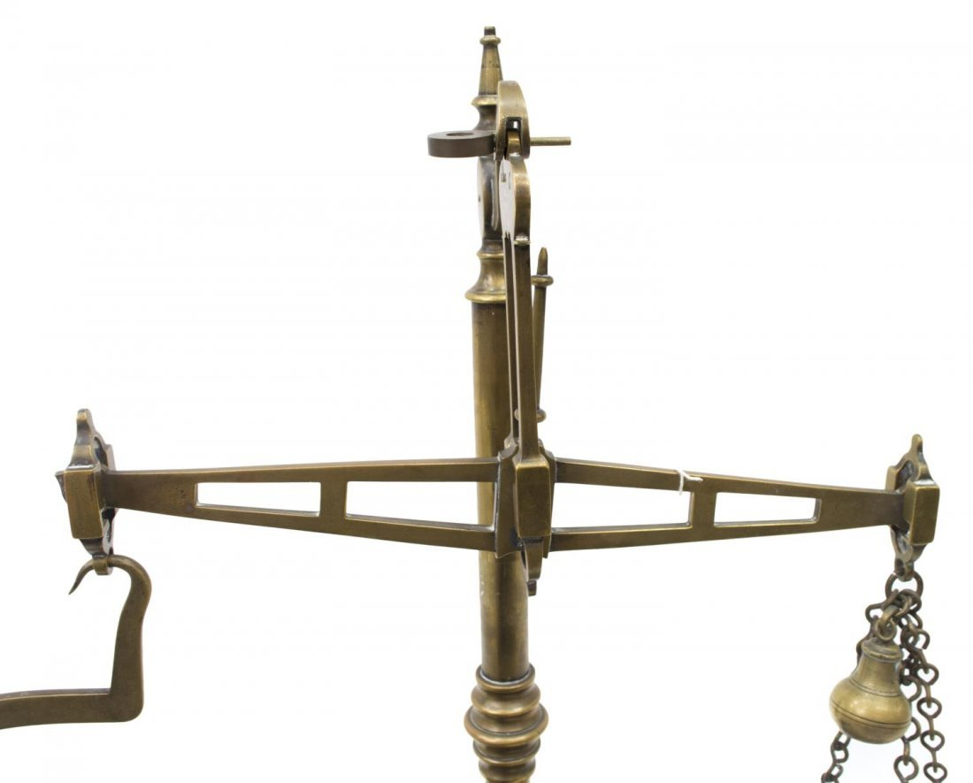 ENGLISH VICTORIAN SET OF BRASS SCALES, C. 1890 - 3