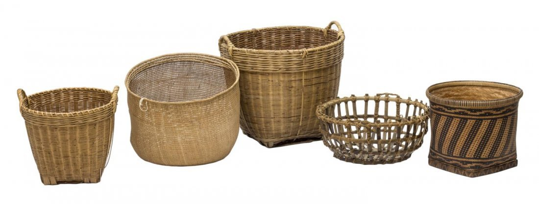 (5) VINTAGE & NEWER BENTWOOD & WOVEN REED BASKETS