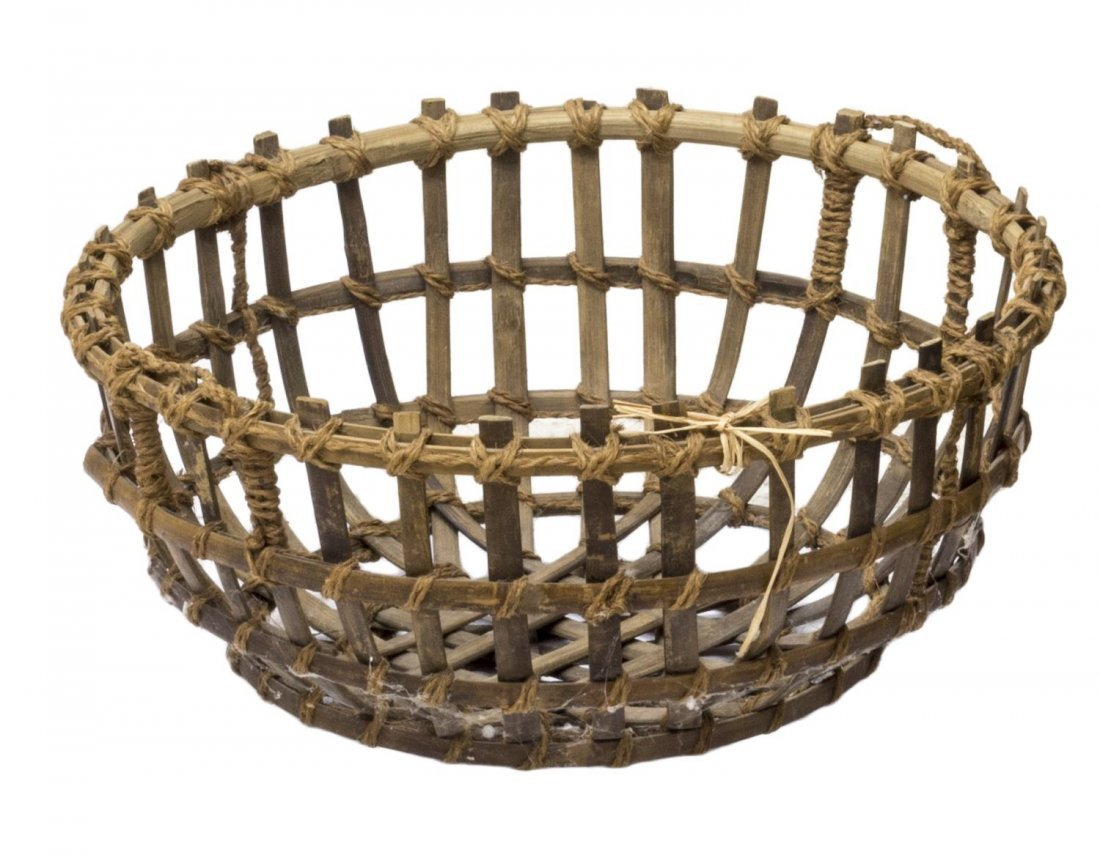 (5) VINTAGE & NEWER BENTWOOD & WOVEN REED BASKETS - 2