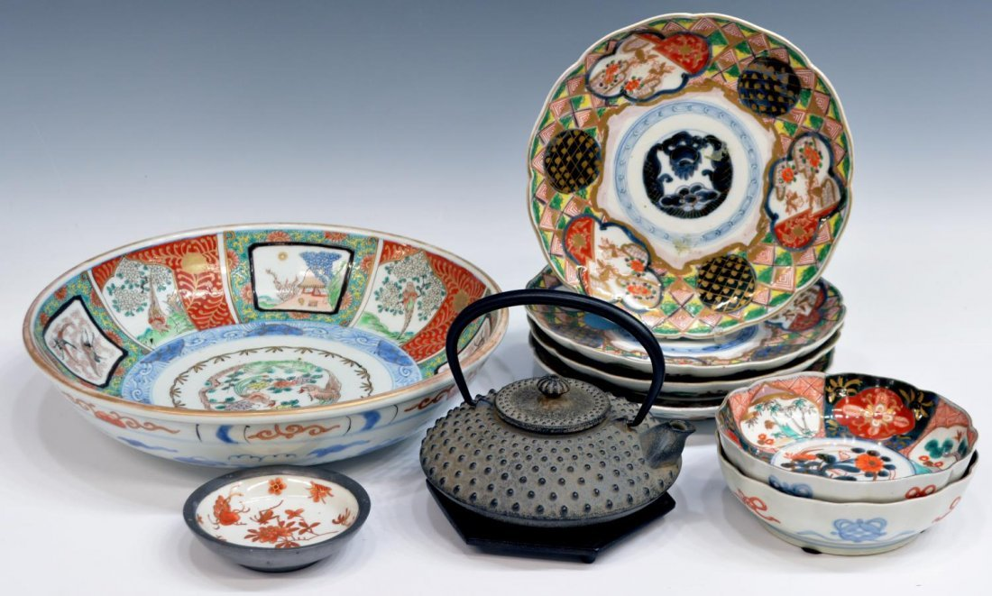 (9) ANTIQUE JAPANESE IMARI & IRON TABLEWARE