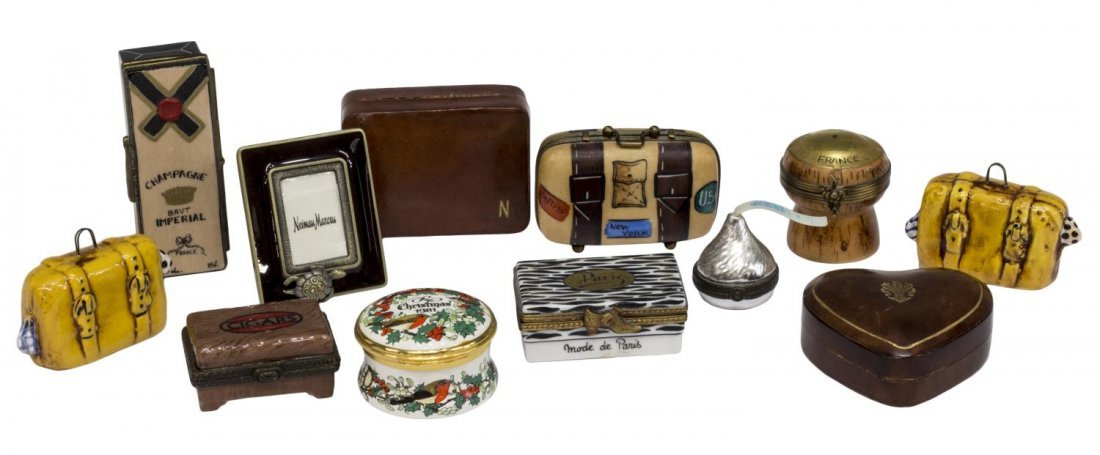 (12) ROCHARD LIMOGES & LEATHER MINIATURE BOXES