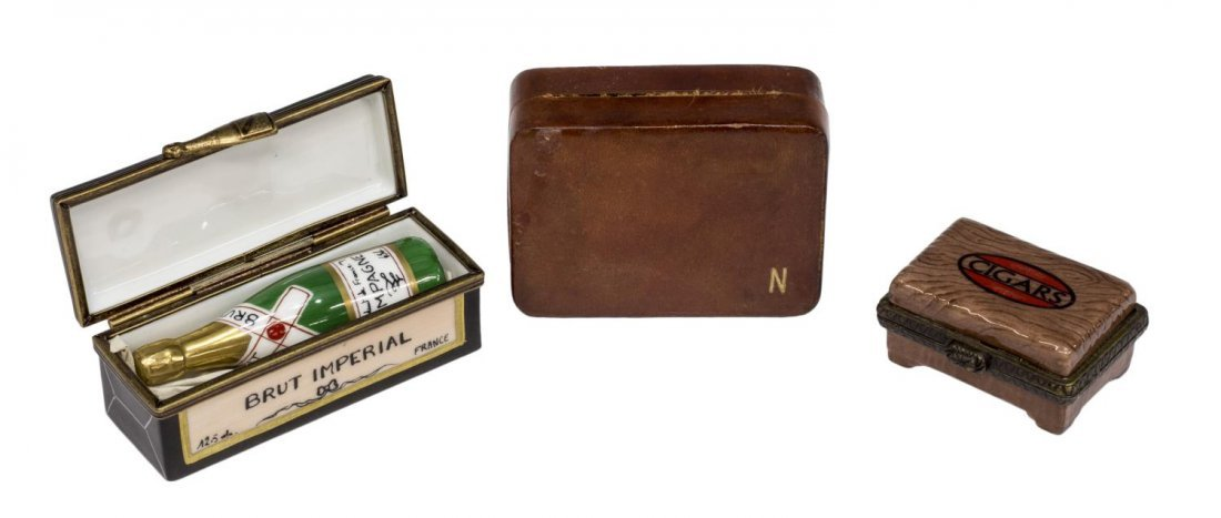 (12) ROCHARD LIMOGES & LEATHER MINIATURE BOXES - 2