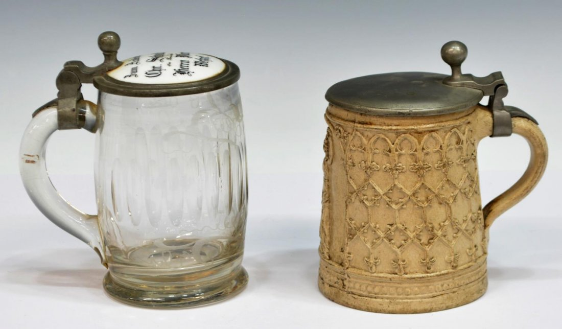 (2)ANTIQUE GERMAN GLASS & GOTHIC STYLE BEER STEINS