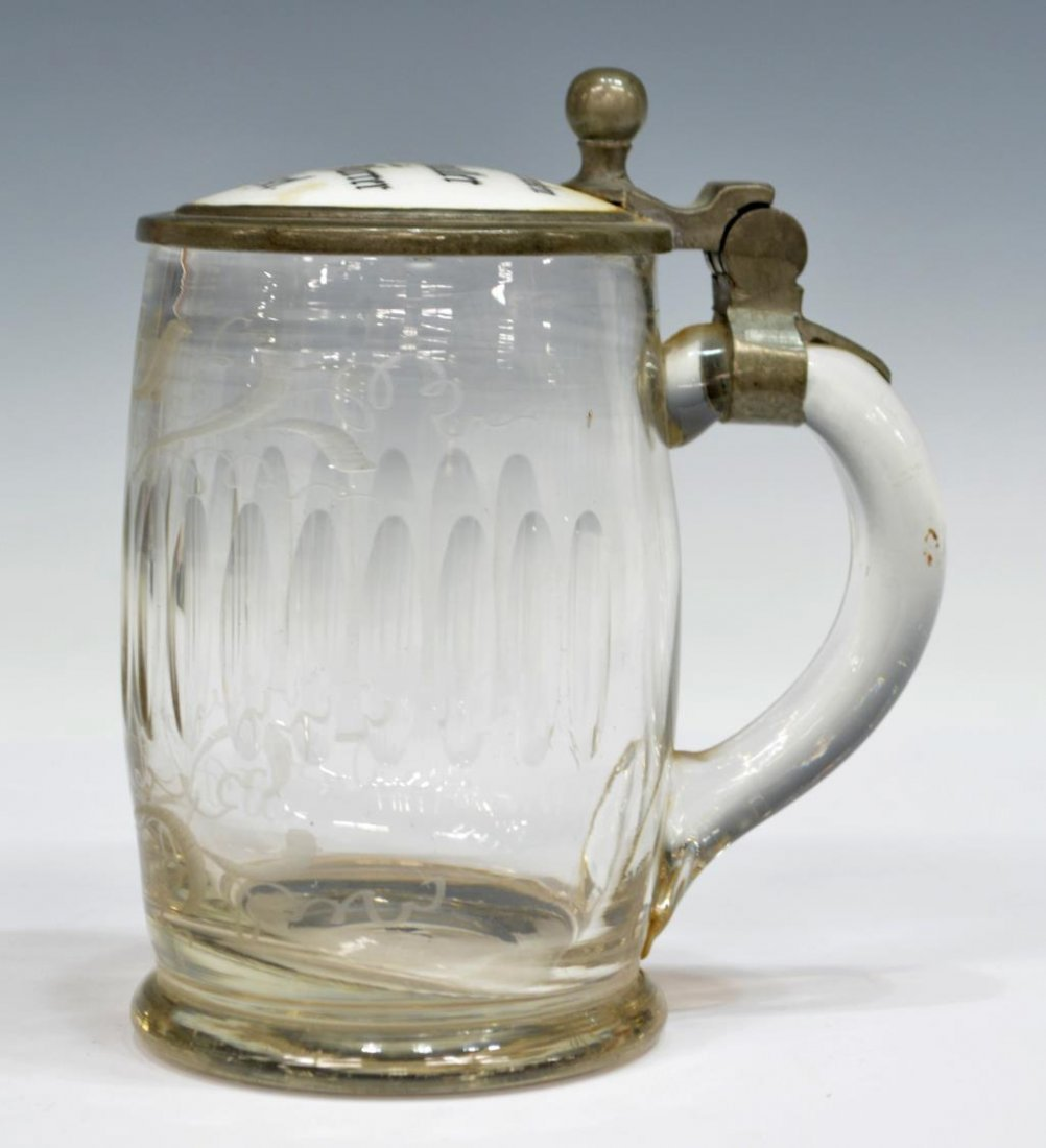 (2)ANTIQUE GERMAN GLASS & GOTHIC STYLE BEER STEINS - 2