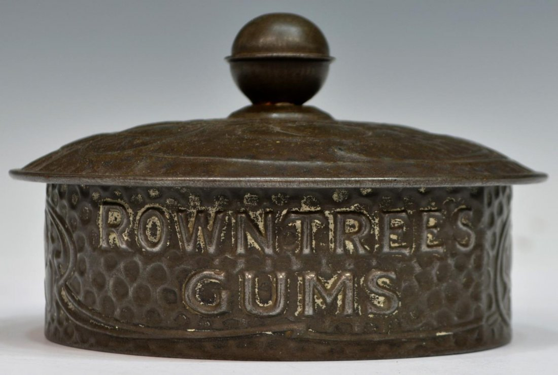 ROWNTREES GUM METAL LIDDED GLASS CANDY JAR - 3